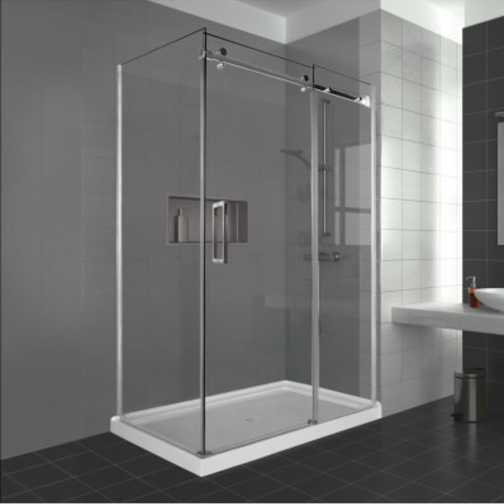 Reversible shower set 32x60 chrome Caruso Nautika series