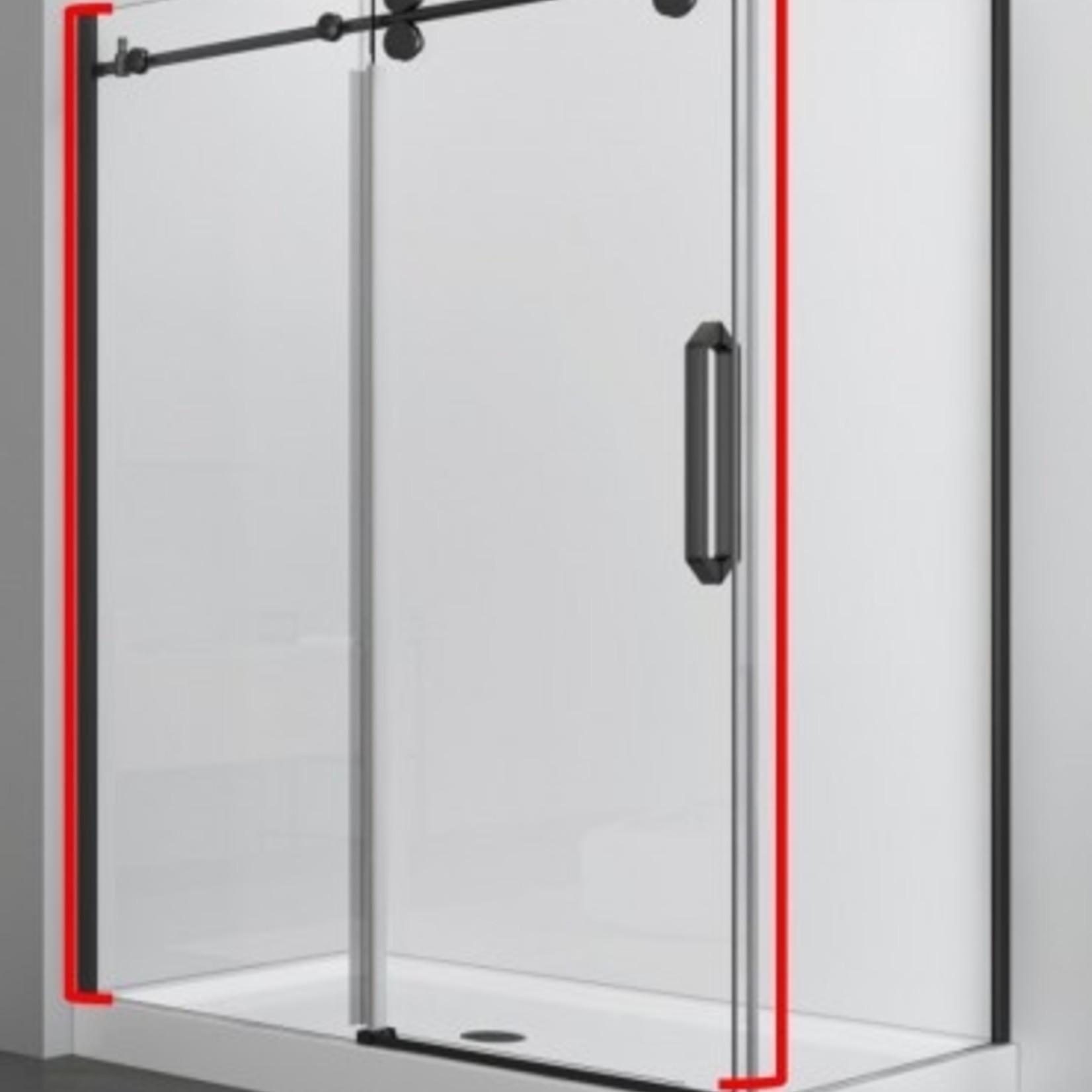 Reversible shower door 48 '' black 10mm Zirkon Apo series
