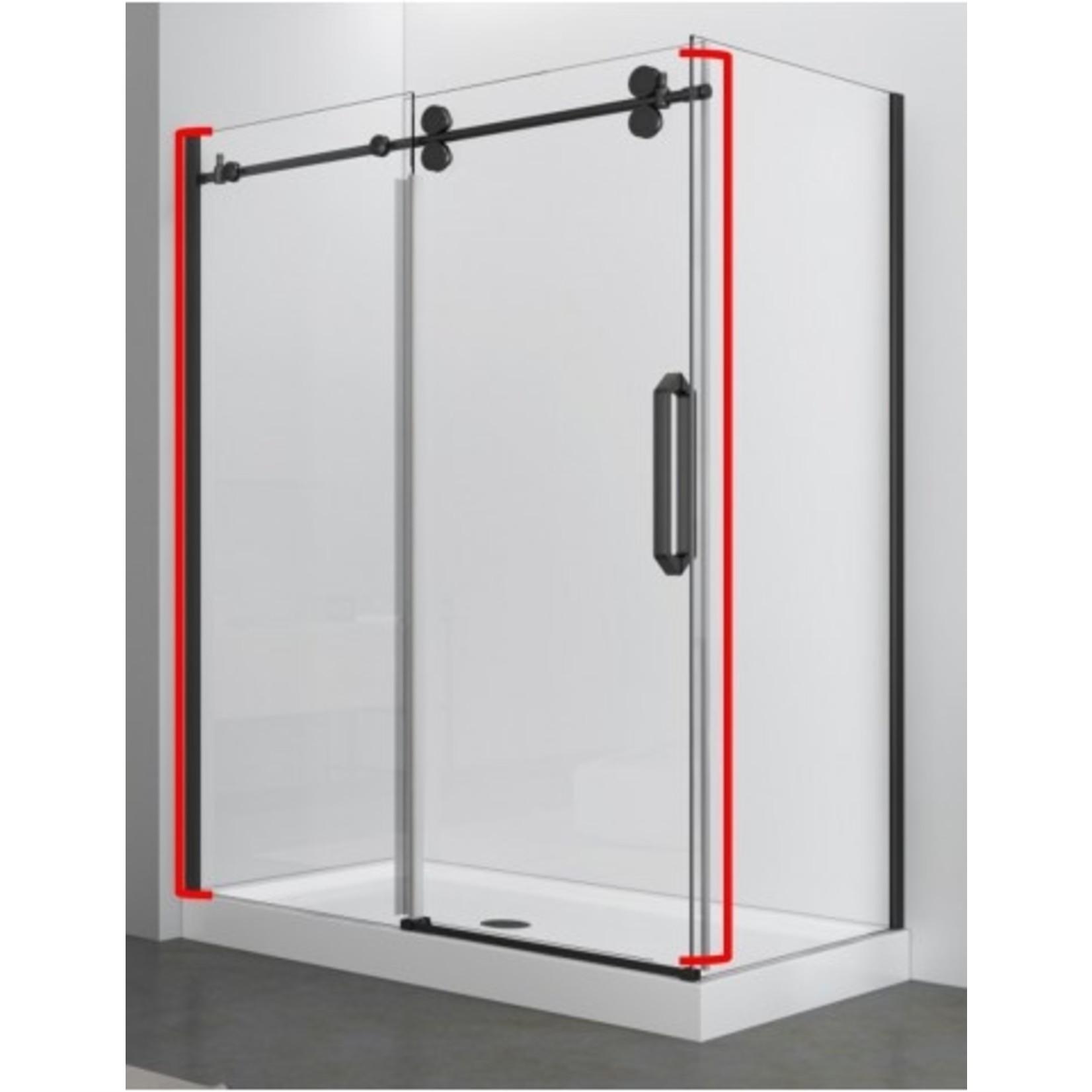 Reversible shower door 60 '' black 10mm Zirkon Apo series