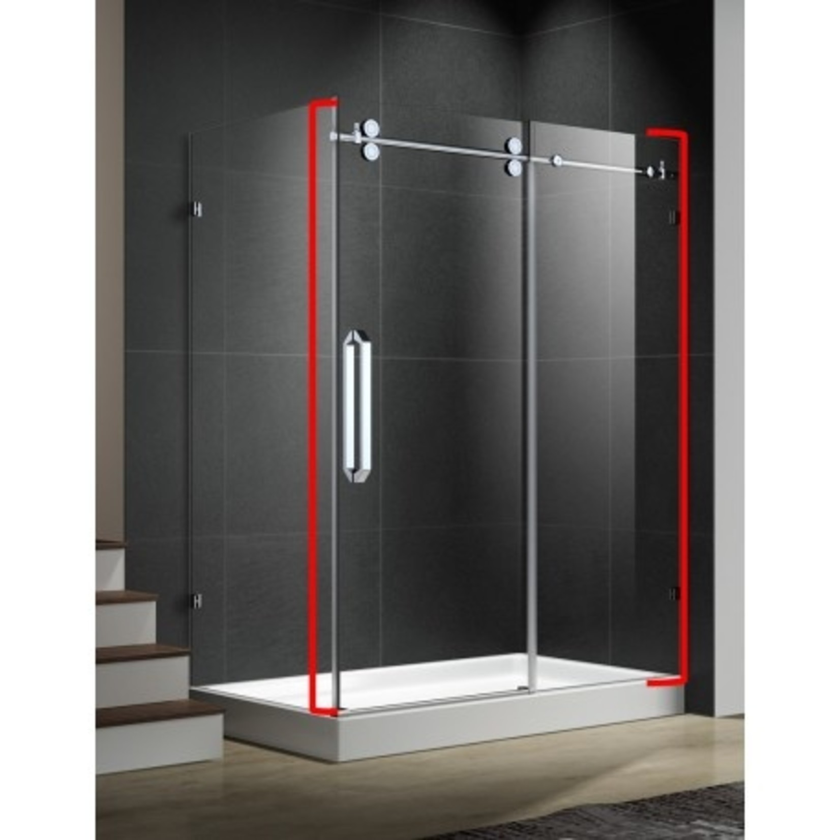 Reversible shower door 60 '' chrome 10mm Zirkon Apo series