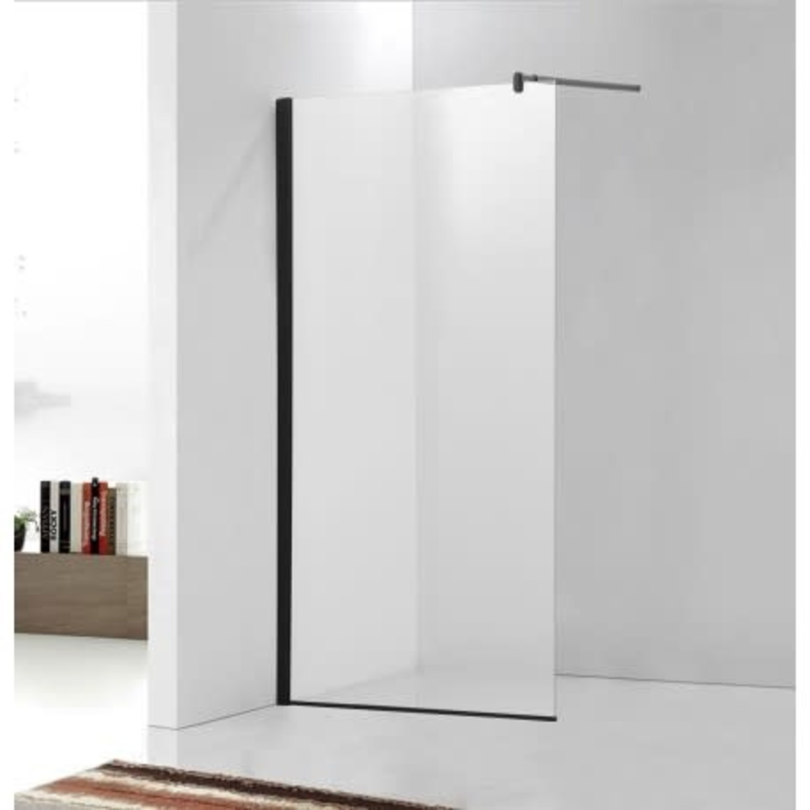 60 '' Matte Black Italian style glass shower