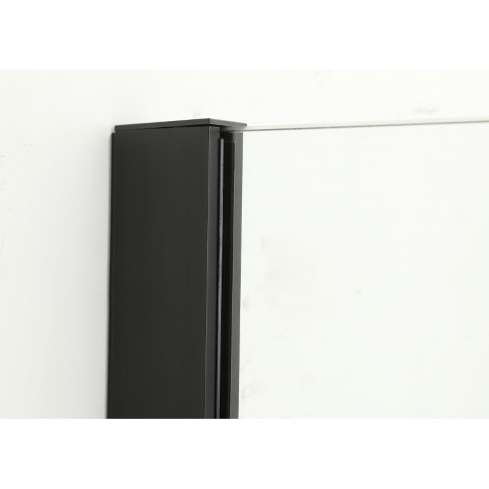 39.5 '' Matte Black Italian style glass shower