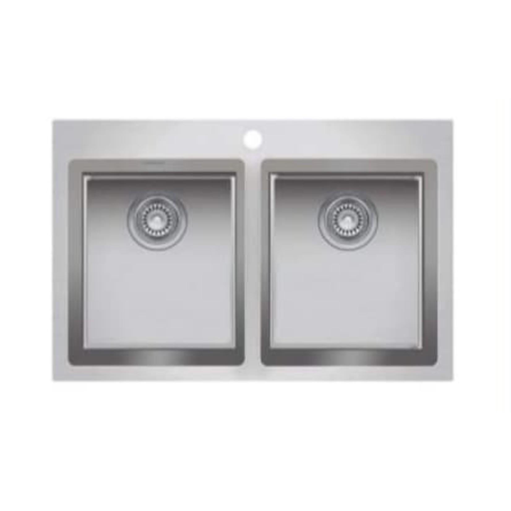 "Double bowl countertop kitchen sink 313/8 ""x 205/8"" x 9/9 ""ZR200"