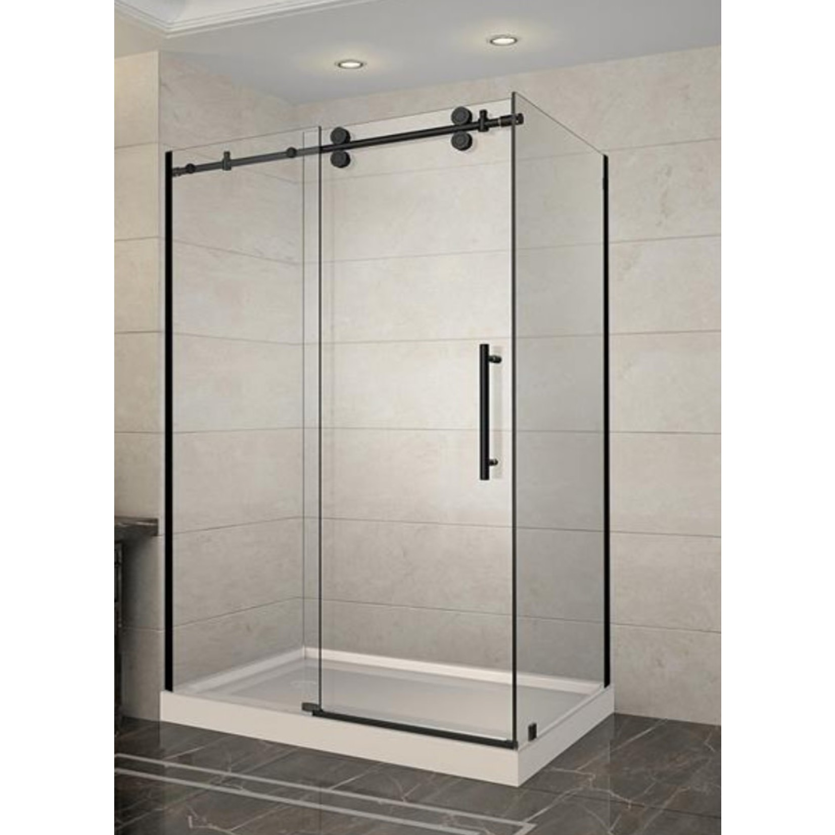 Luhö  Reversible shower set 36x60 matt black Zirkon Luho series