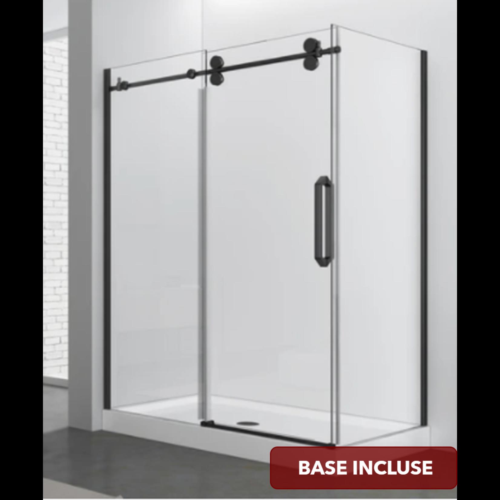 Reversible shower set 36x48 matt black Zirkon Apo series