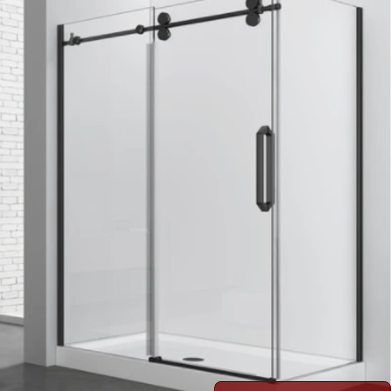 Reversible shower set 32x48 matt black Zirkon Apo series