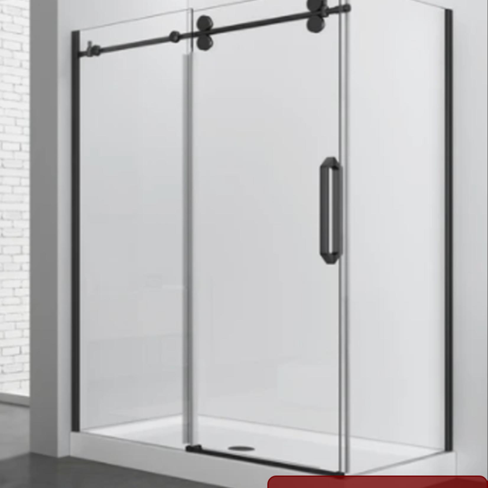 Reversible shower set 32x60 matt black Zirkon Apo series