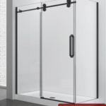 Reversible shower set 36x60 matt black Zirkon Apo series
