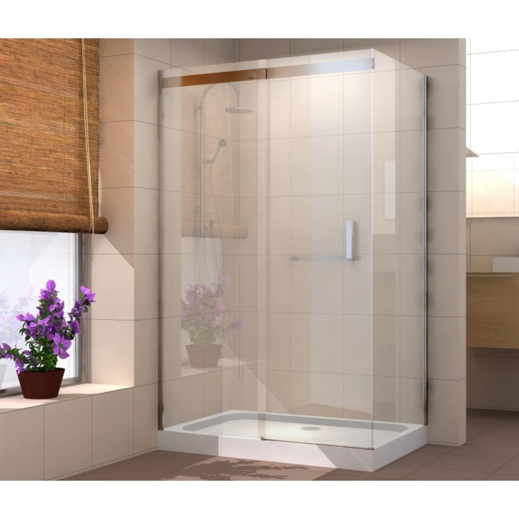 36x48 brushed nickel shower set quartz ocea
