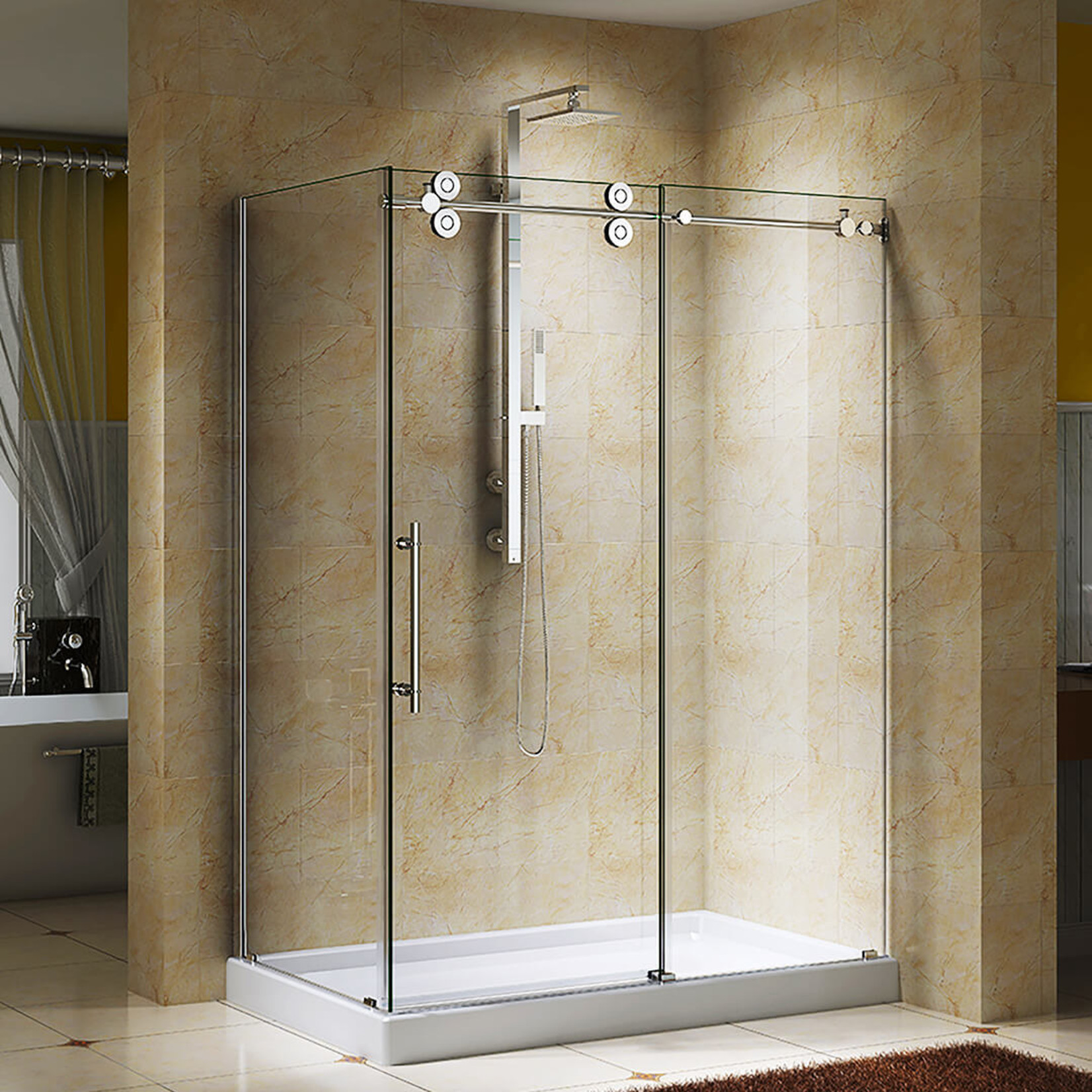 Reversible shower set 10mm chrome Zirkon Jade series
