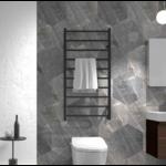 Black heated towel rail 009-B
