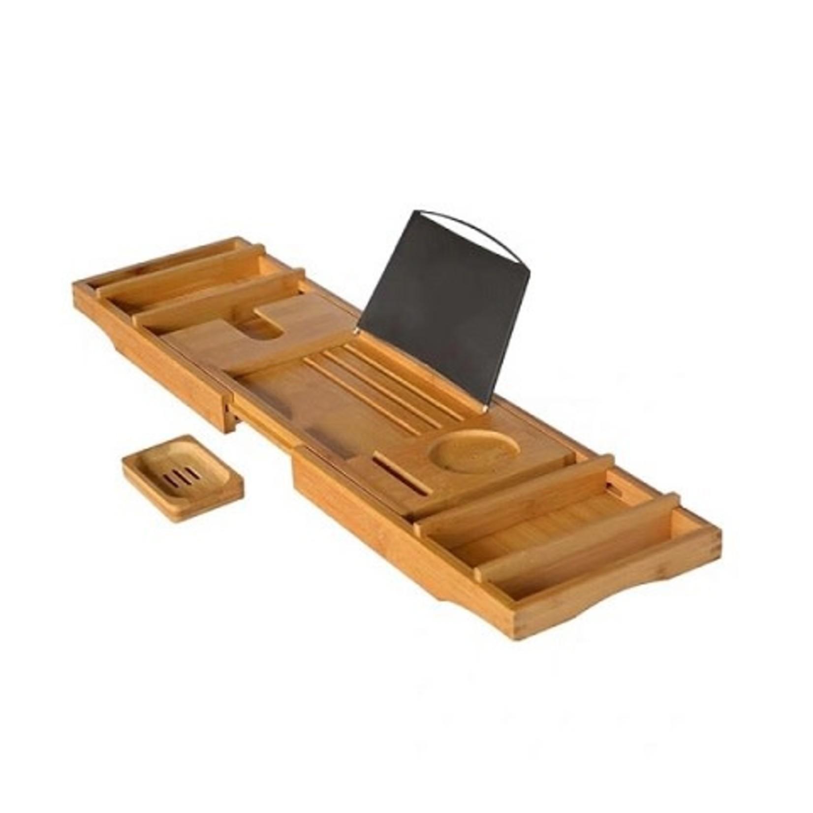 Bamboo bathtub caddy