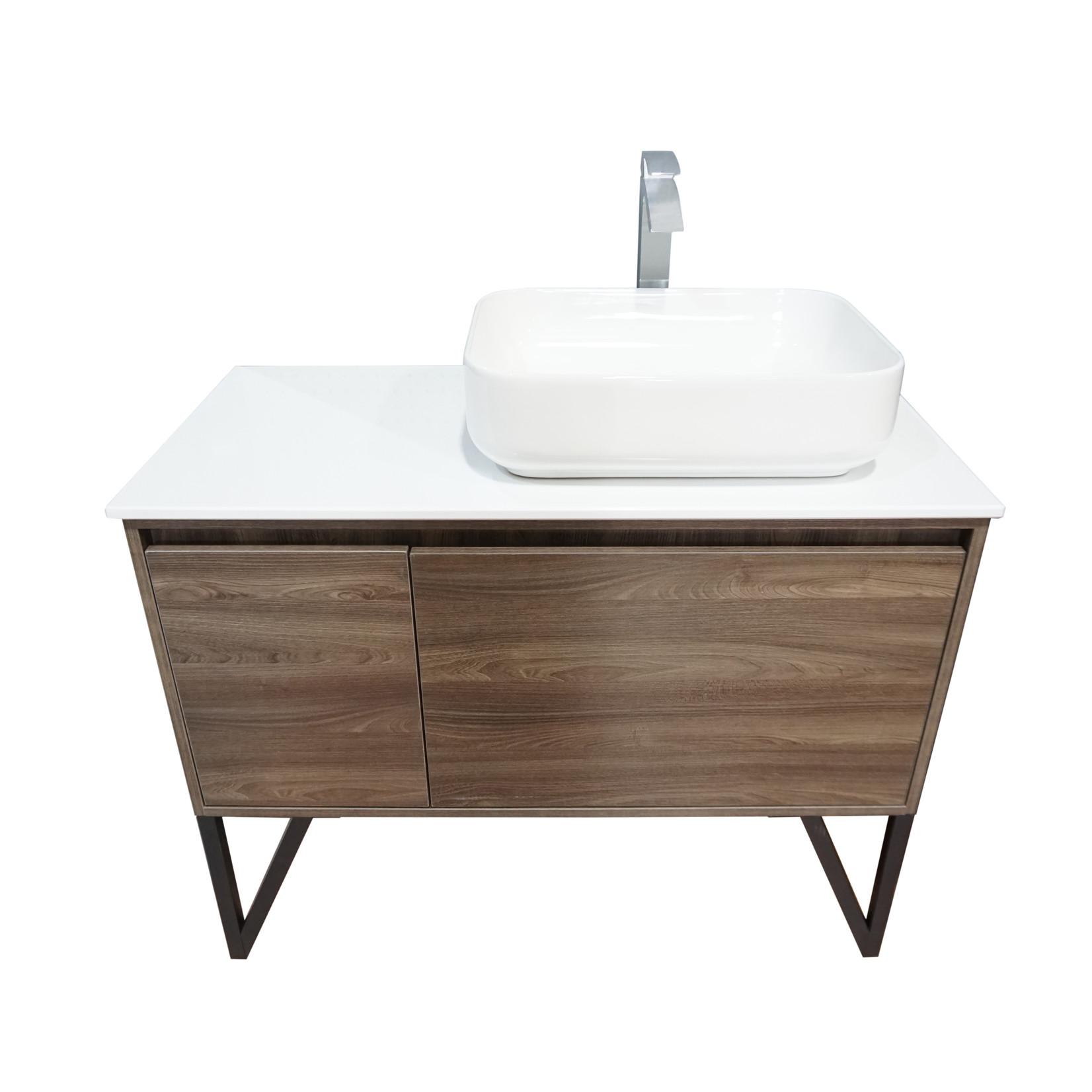 Vanité 40'' effet bois lavabo blanc CD-90138