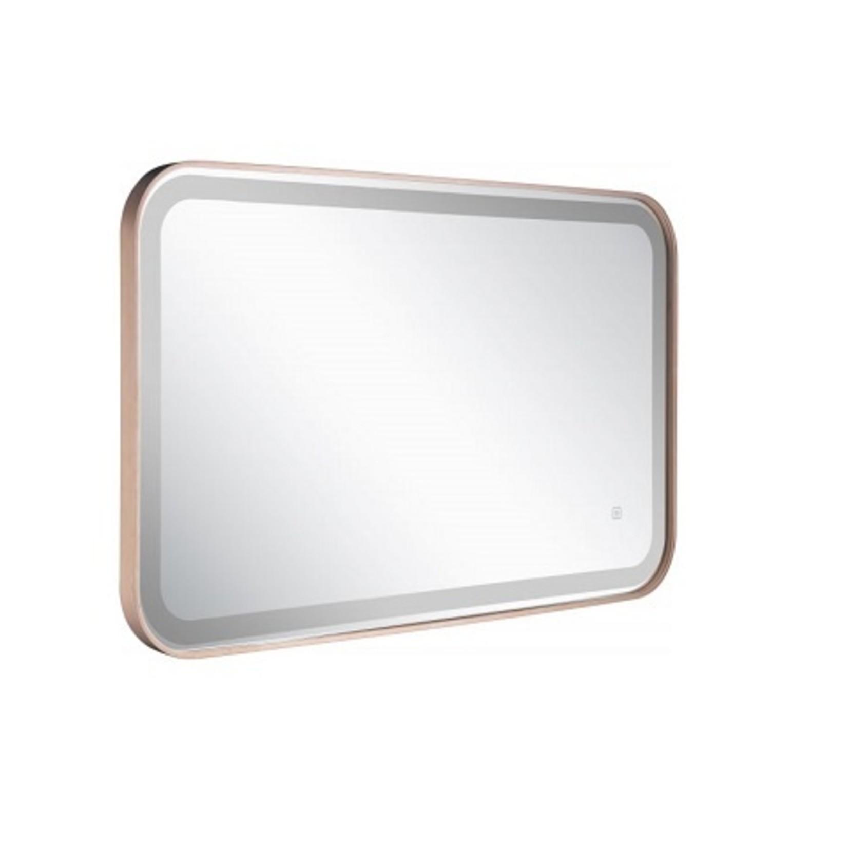 Miroir LED rectangulaire avec bordures noires arrondies AMH11B02-48