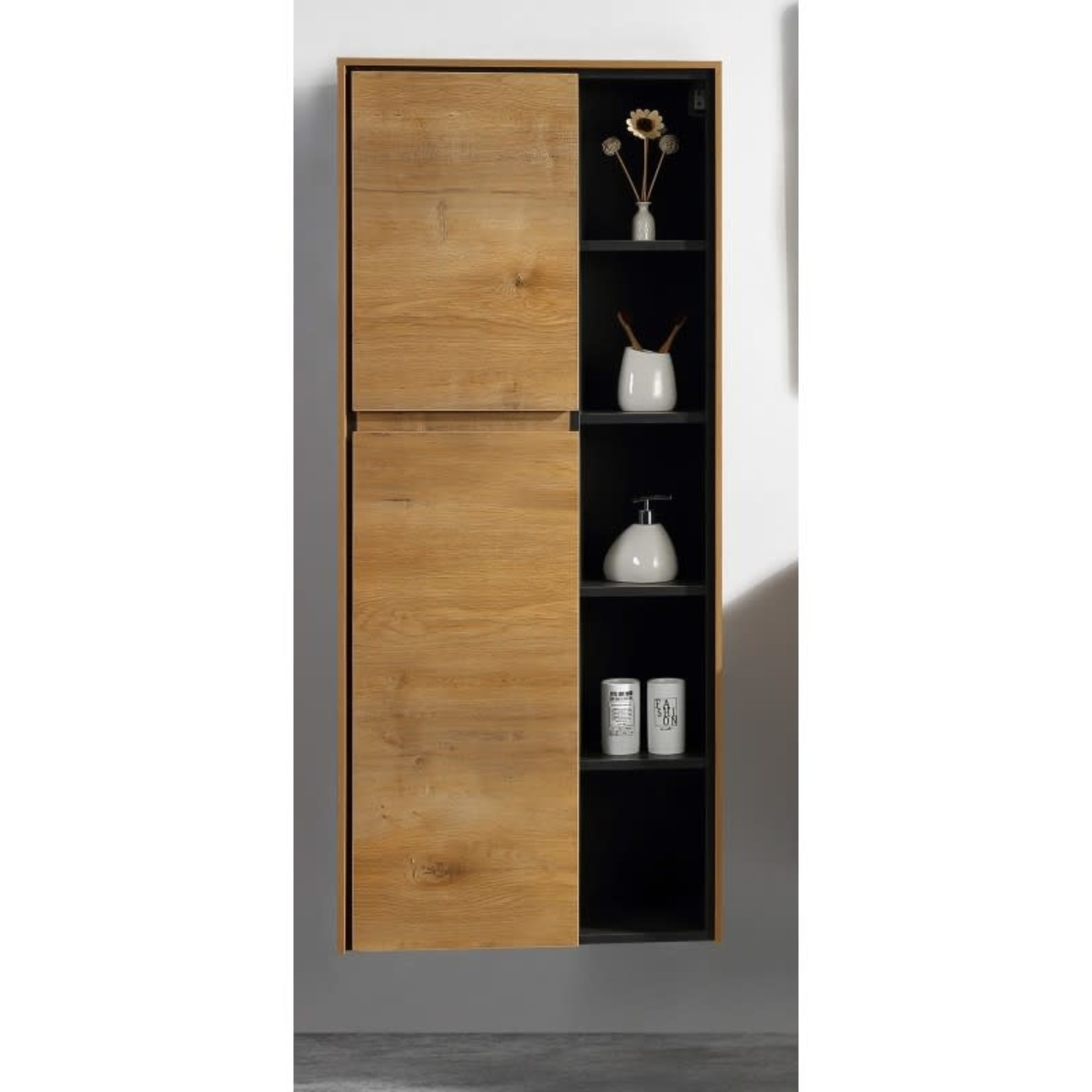 Floating side cabinet with 24 '' shelves European oak DI-197035