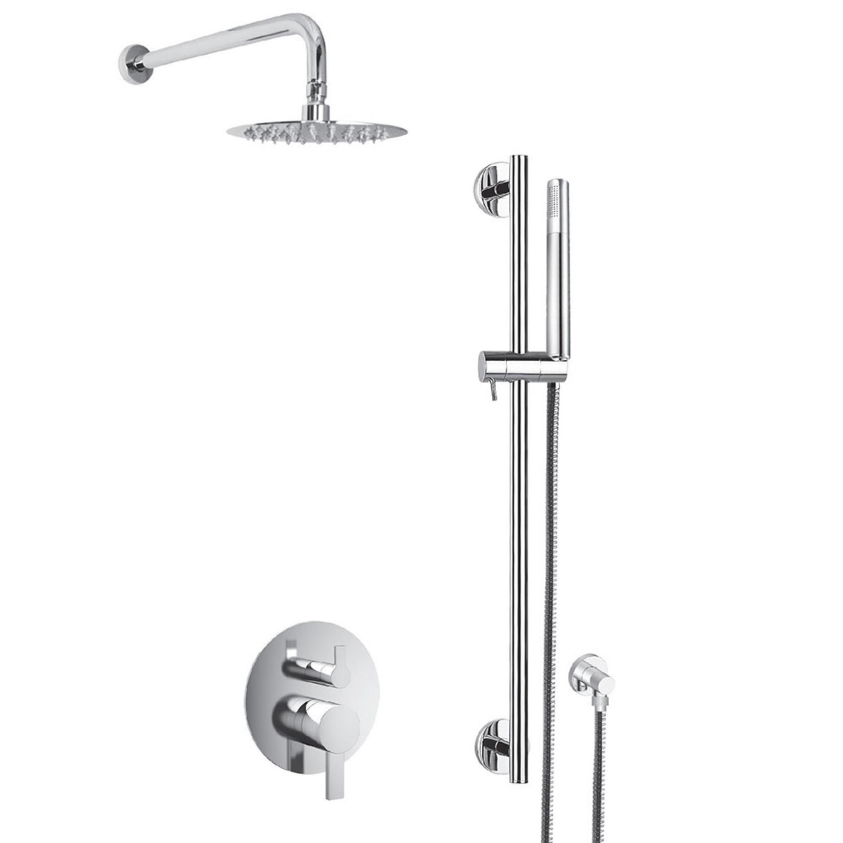 Akuaplus Elite Chrome Round Rail Shower Faucet RD-812030-CP