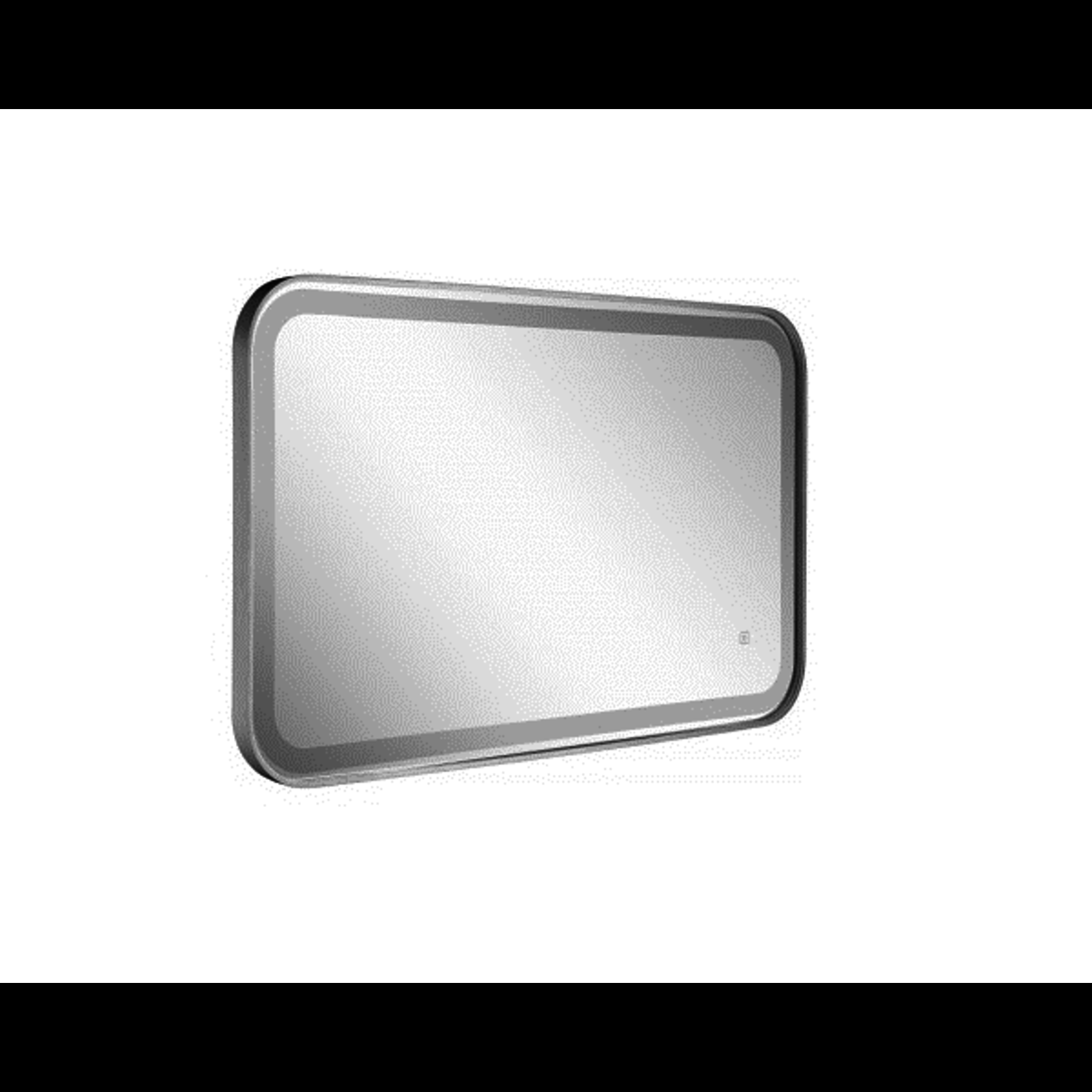 Rectangular LED mirror with rounded black borders