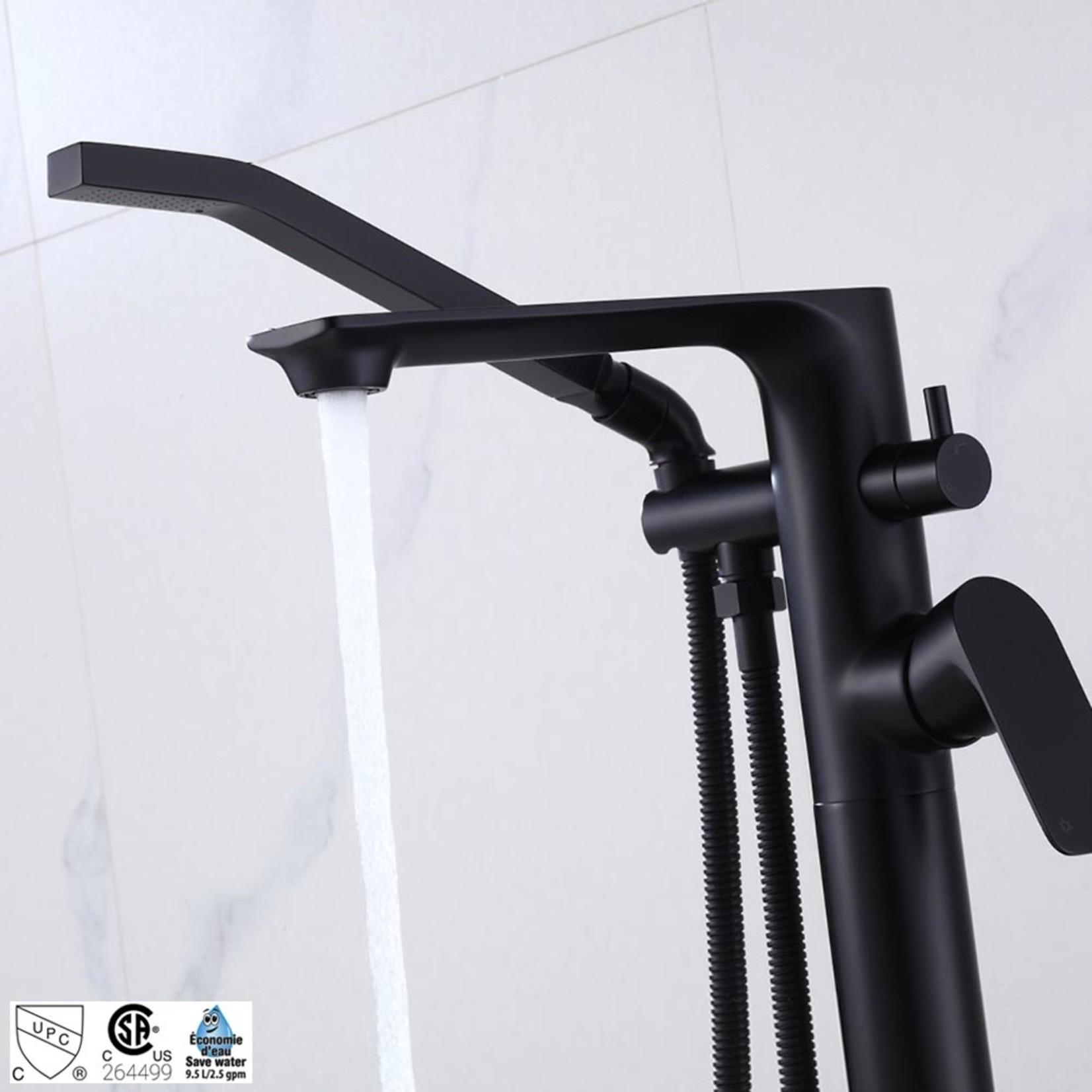 Robinet de bain sur pied noir mat collection Elena ak+ 6126BL