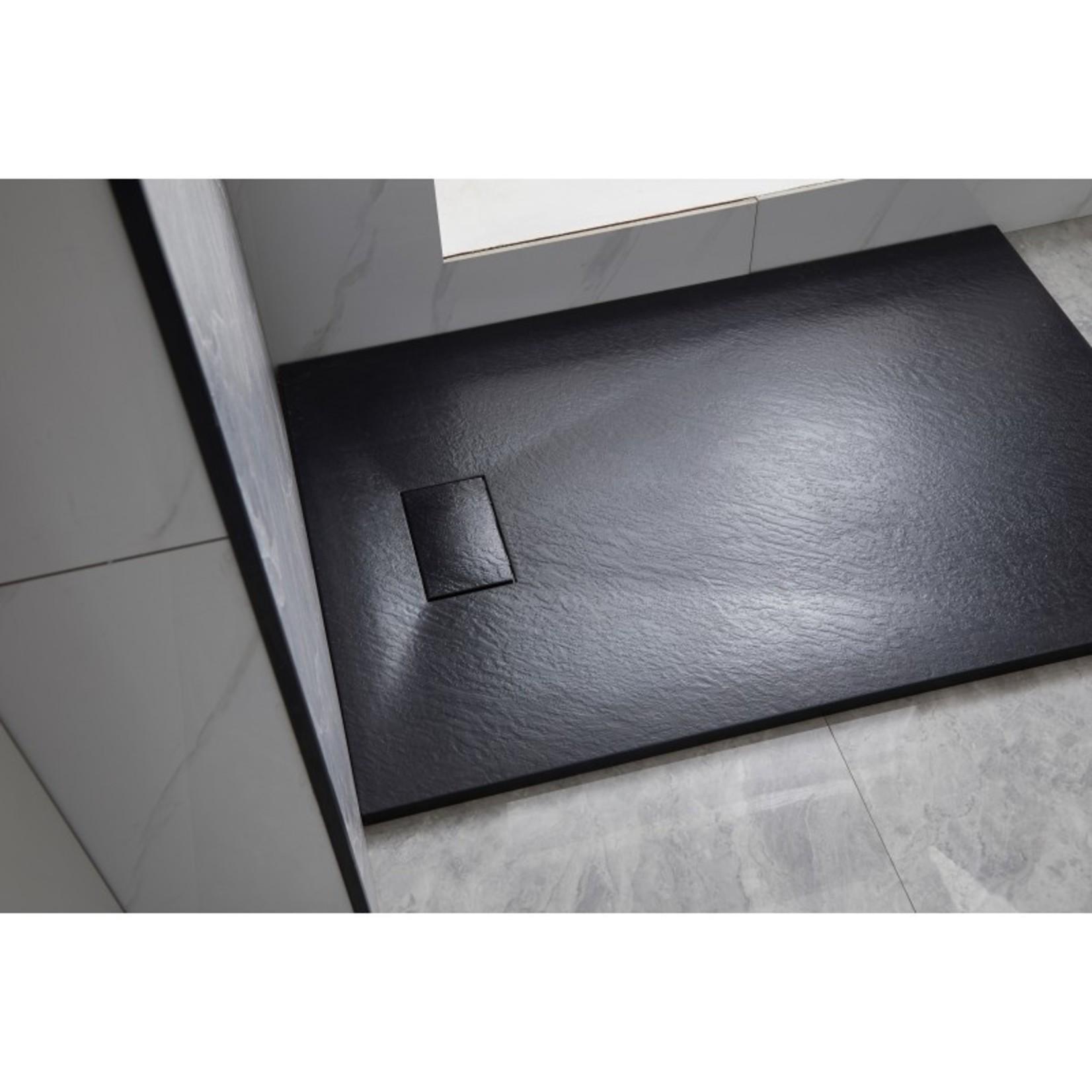 Base de douche noir fini ardoise 36x48 drain linéaire installation universelle