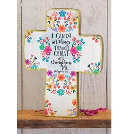 Natural Life I Can Do All Things Through Christ Large Wood Cross