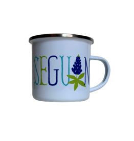 Rock Scissor Paper Enambled Camp Seguin with Bluebonnets Mug
