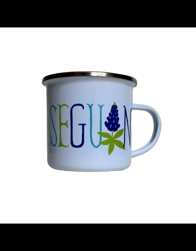 Rock Scissor Paper Enambled Camp Seguin with Bluebonnets Mug