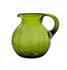 Jan Barboglio Floreado Glass Pitcher Green