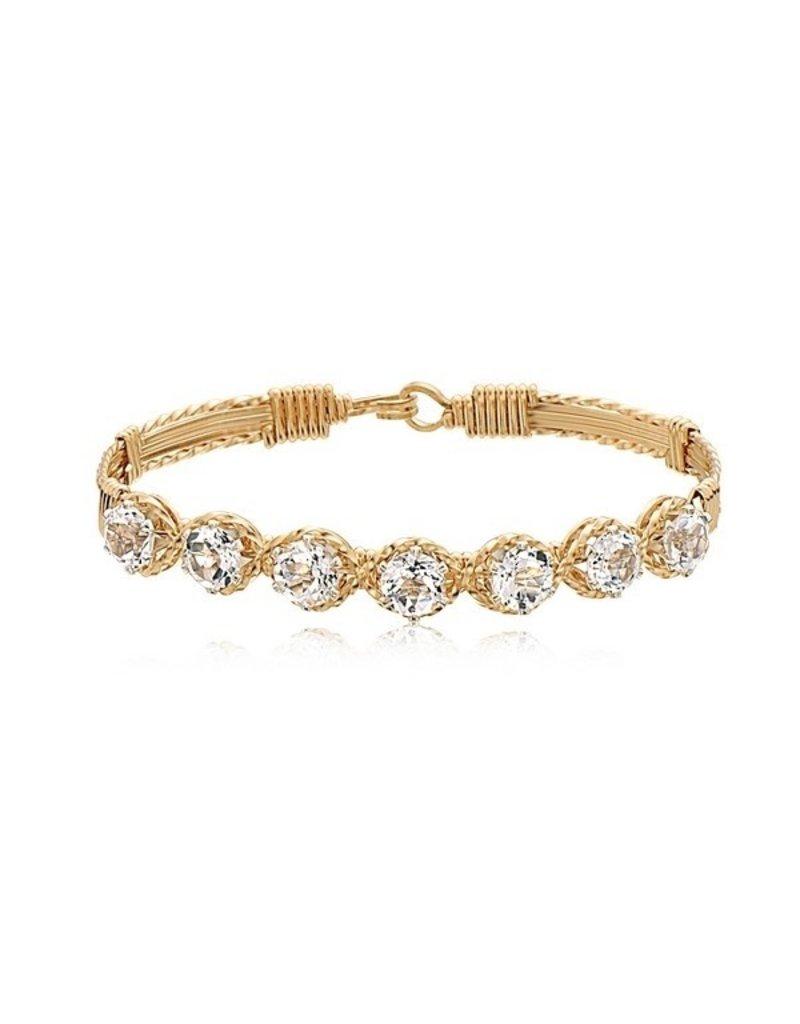 Ronaldo Designer Jewelry Dawn Bracelet - Gold with White Topaz