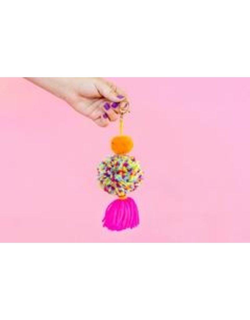 Taylor Elliott Designs Pink/Orange Pom + Tassel Keychain