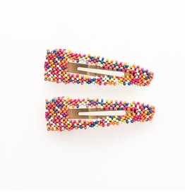 Ink + Alloy Confetti Beaded Hair Clip 2.25""