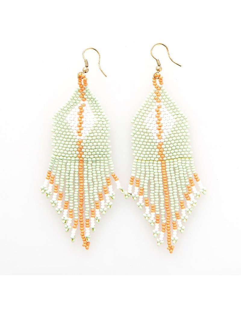 Ink + Alloy Seed Bead Diamond with Stripe Earring 3.75""