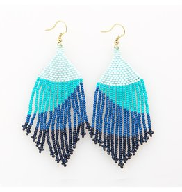 Ink + Alloy Seed Bead Stripe with Fringe Earring 4""