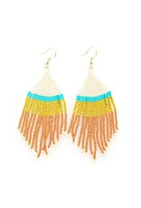 """Ink + Alloy Seed Bead Stripe with Fringe Earring 4"""""""