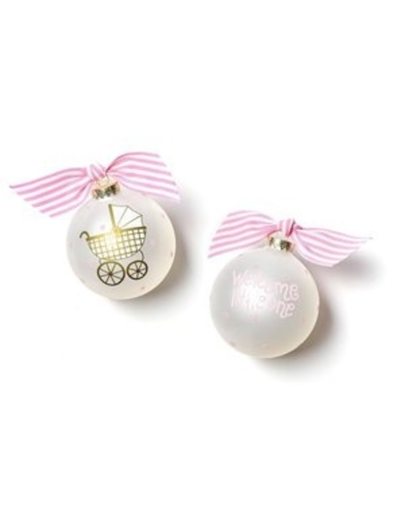 Coton Colors Welcome Little One Carriage Girl Glass Ornament