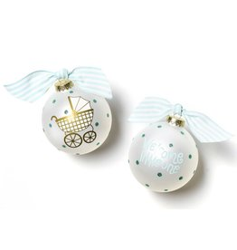 Coton Colors Welcome Little One Carriage Boy Glass Ornament