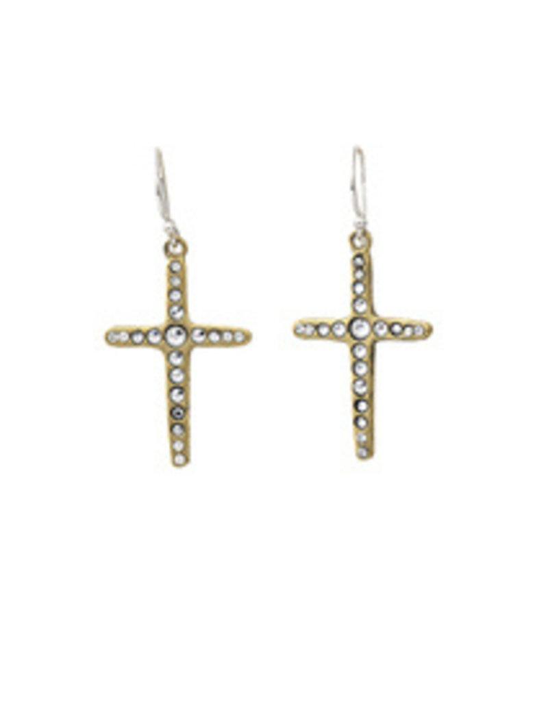 Waxing Poetic Amor Fati Single Cross Earrings