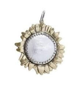 Waxing Poetic Moon Daisy Large White Pearl Pendent BR
