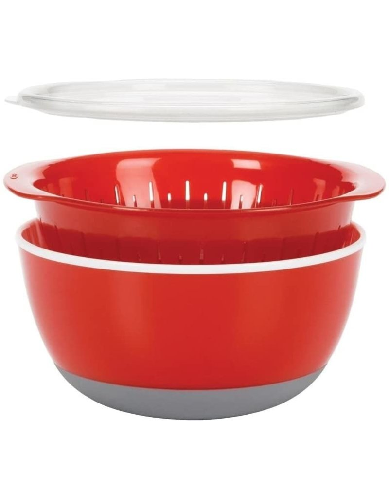 OXO 3pc Bowl and Colander Set-Red