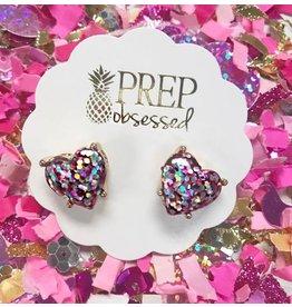 Prep Obsessed Glitter Heart Stud