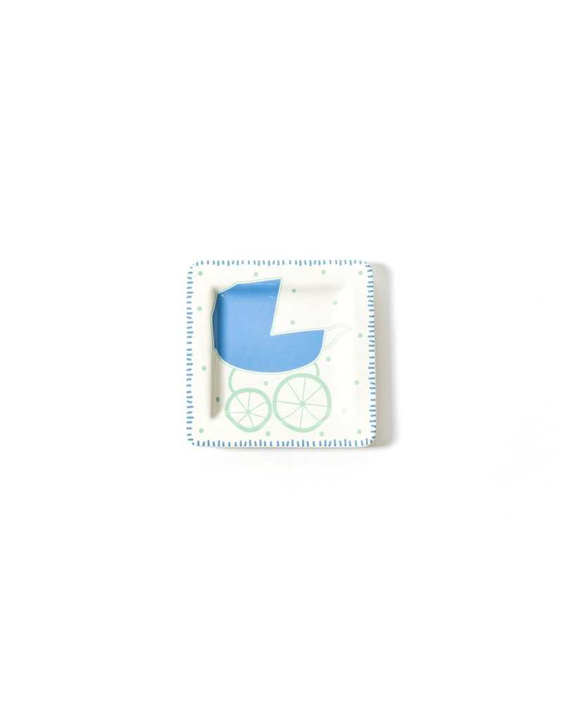 Coton Colors Baby Carriage Square Plate Blue