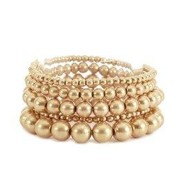 What's Hot Multi Gold Beaded Stretch Bracelets Set/5