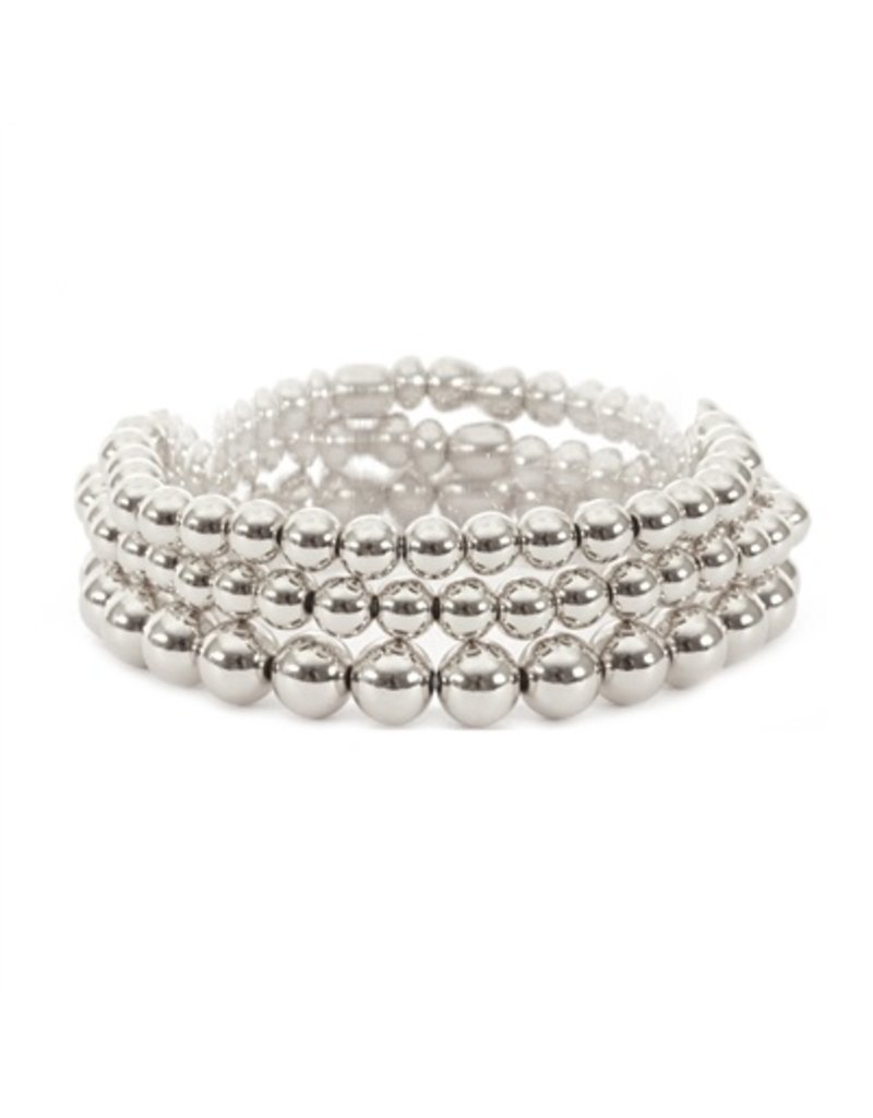 What's Hot Silver Beaded Stretch Bracelet Set/3
