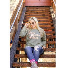 Jadelynn Brooke Good Hearted Woman Sweatshirt Olive Acid Wash