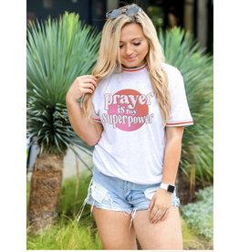 Jadelynn Brooke Prayer Is My Superpower White Funfetti T-Shirt