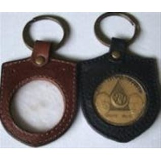 Key Fob, Brown, Shield-Shaped