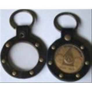 Key Fob, Black, Round W/Rivets