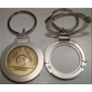 Key Ring, Round, Flip-Up, Bright Nickel