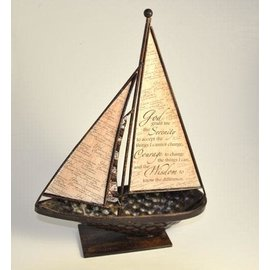 Serenity Prayer Tabletop Sailboat