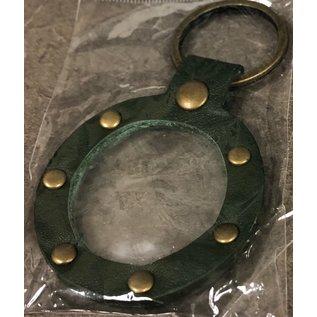 Key Fob, Dark Green Round W/Rivets