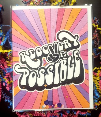 Recovery Is Possible Groovy Greeting Card